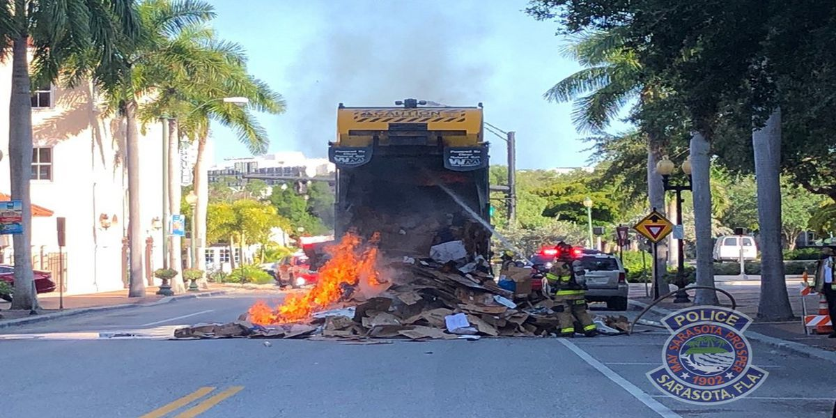 Garbage truck fire at Five Points Park in Sarasota