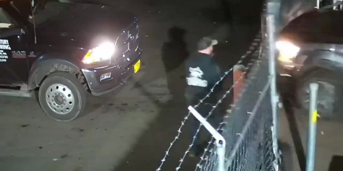Video shows suspect driving stolen pickup and hitting employee at a tow yard in Oregon