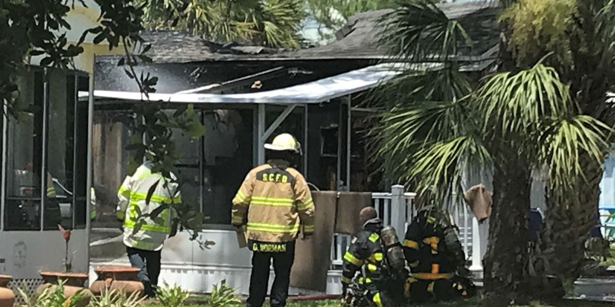 Mobile home fire at RV park in Venice