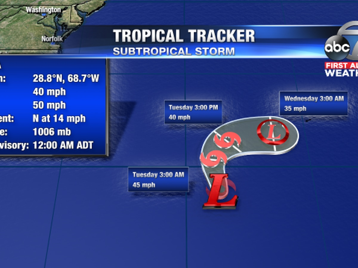 Andrea becomes first named storm of the season as it forms SW of Bermuda