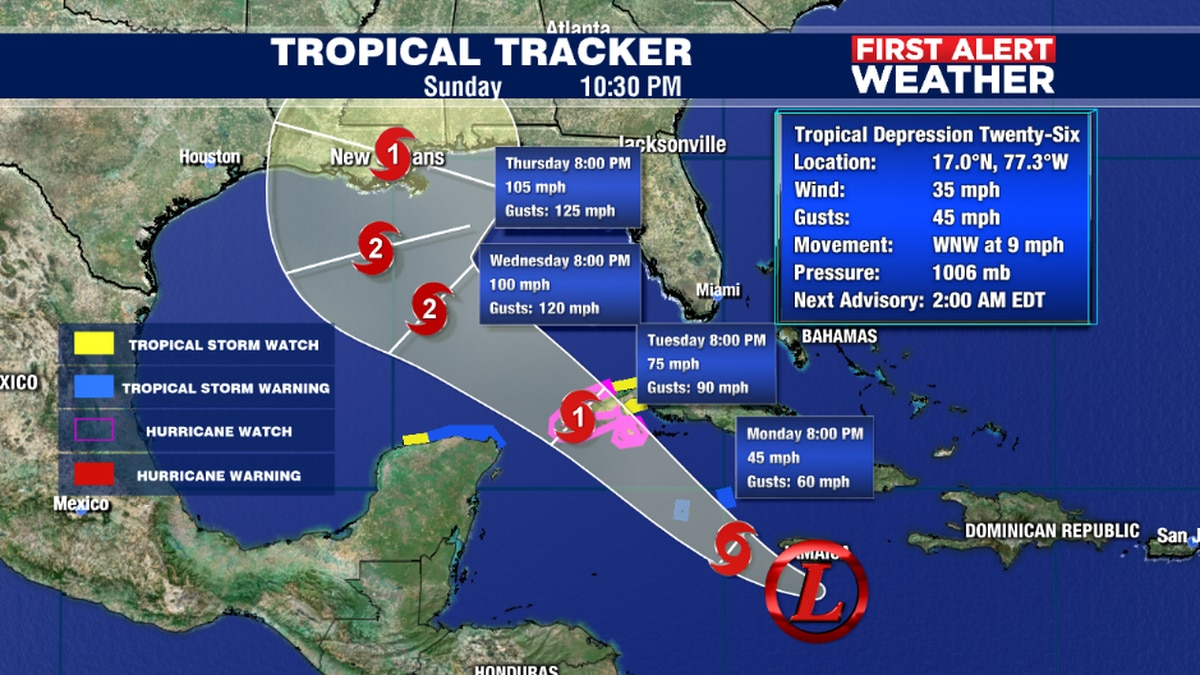 Tropical Depression Twenty-Six develops in the Caribbean and expected to strengthen into a Tropical Storm tomorrow