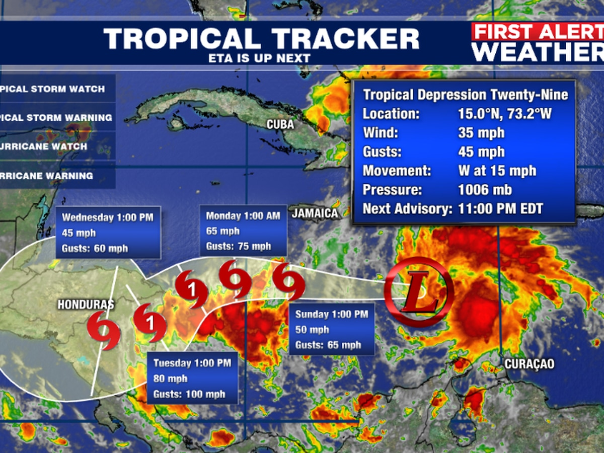 Tropical Depression Twenty-Nine forms in the Caribbean Sea and as of now it poses no threat to the U.S. mainland