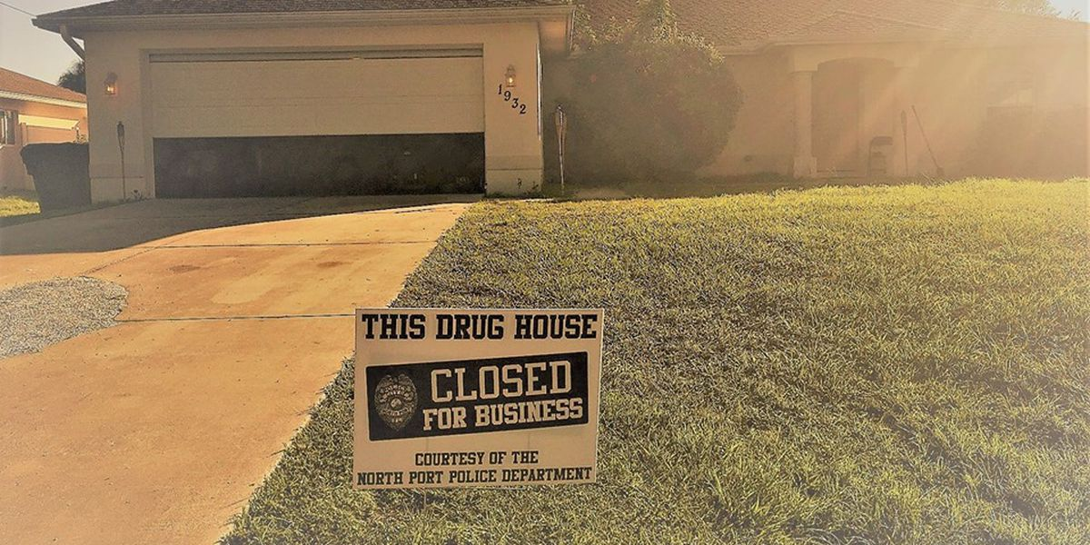 "North Port Police put out sign saying alleged drug house is ""closed for business"""