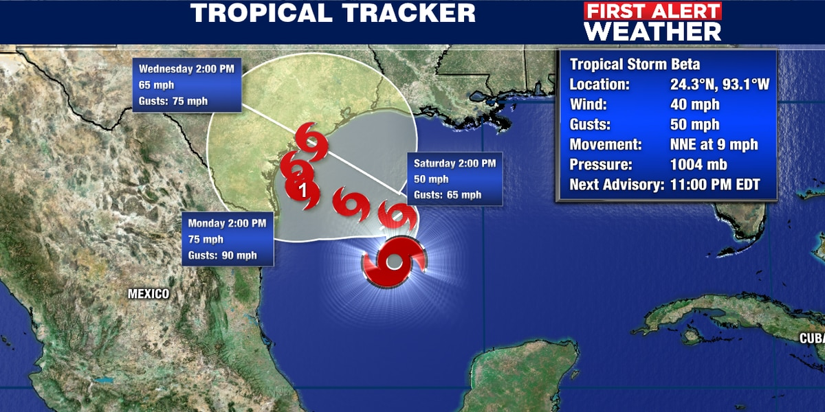 Tropical storm Beta blocked from moving much