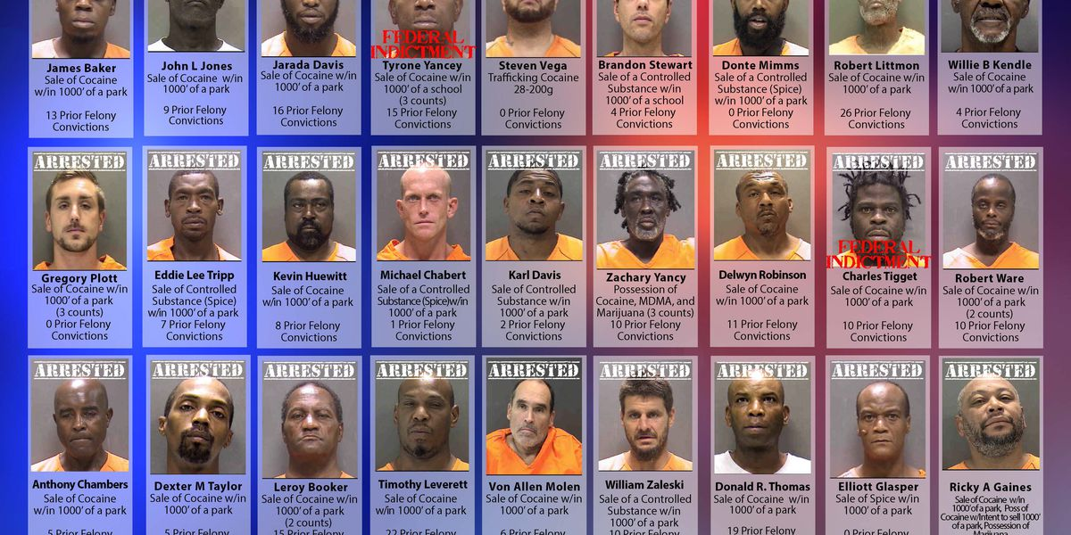 38 people nabbed during operation targeting rock cocaine sellers in Sarasota