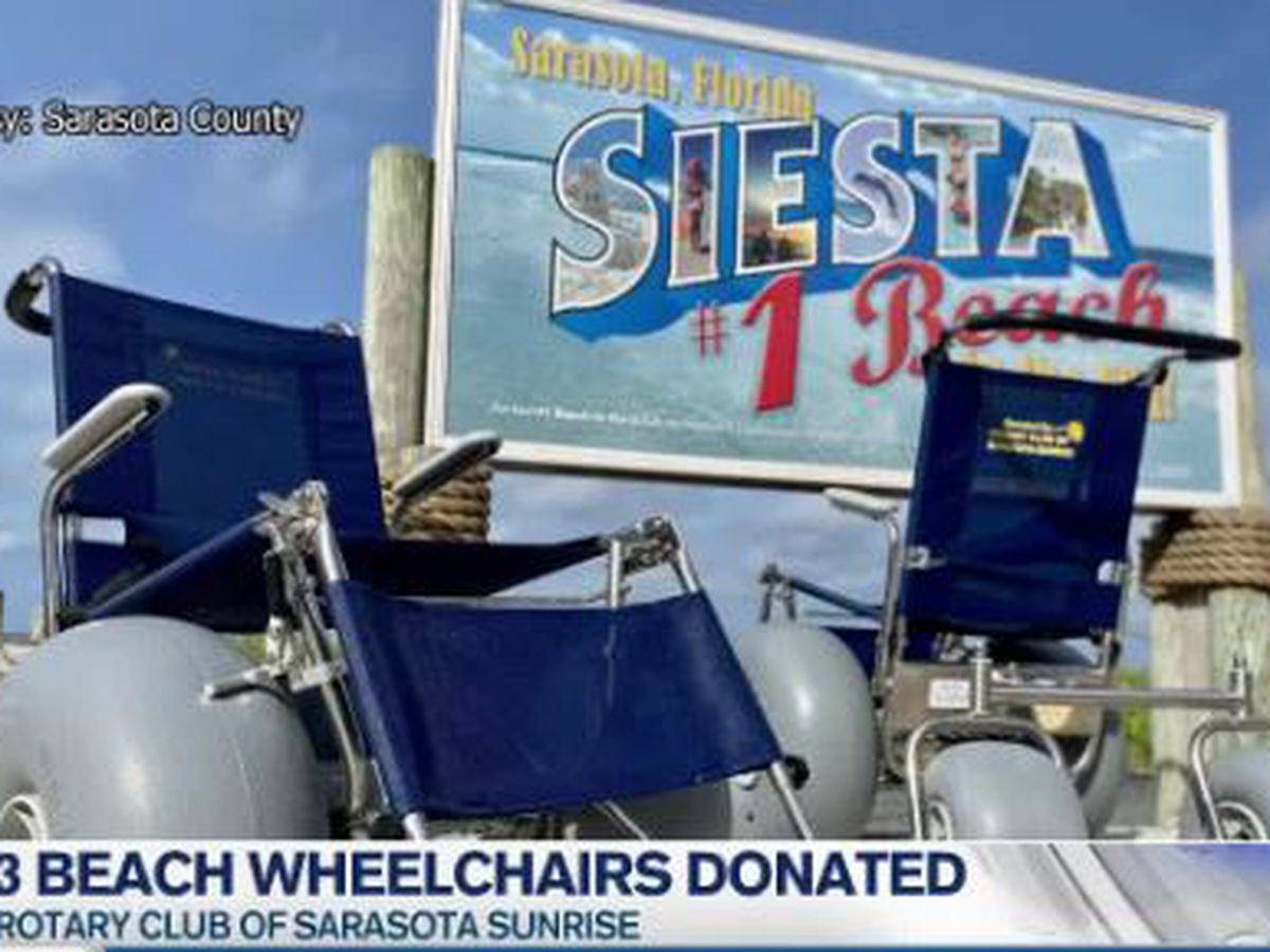 Three beach wheelchairs donated to the Rotary Club of Sarasota Sunrise