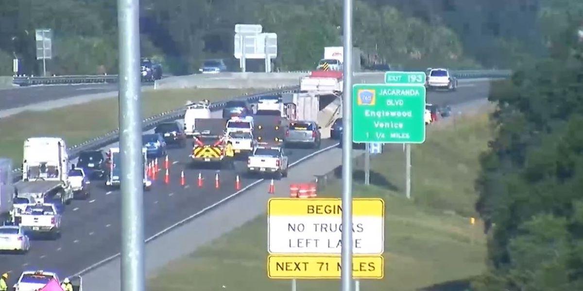 First Alert Traffic: Overturned dump truck blocks two lanes on I-75