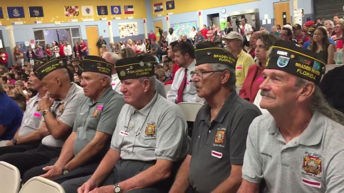 Flag raising ceremony held at Freedom Elementary school in honor of Veteran's Day