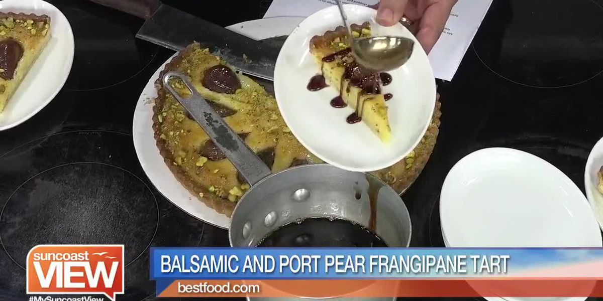 Balsamic and Port Pear Frangipane Tart from Michael's on East | Suncoast View