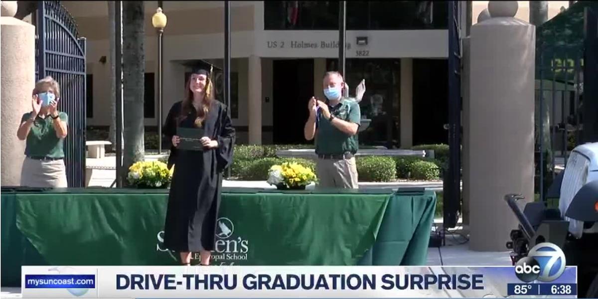 Bradenton school surprises its graduating seniors with a drive-thru graduation