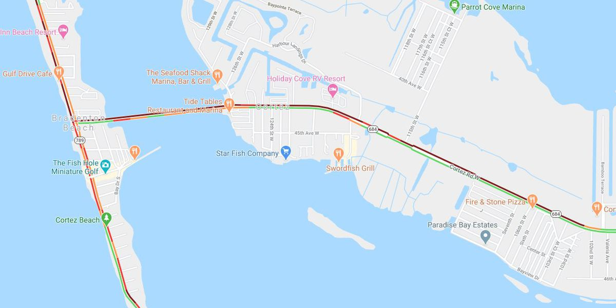 Major backups on Cortez Rd heading to the beach in Manatee County