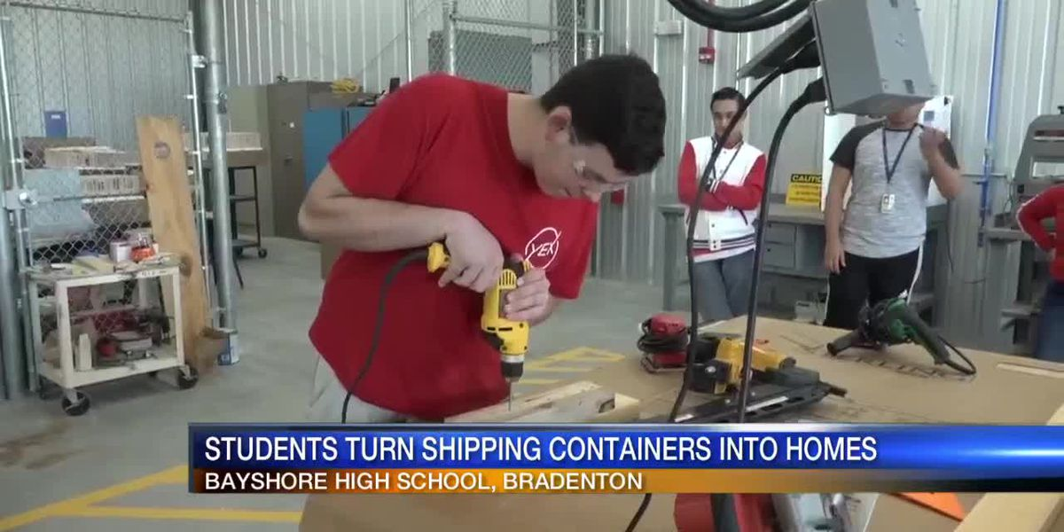 Students at Bayshore High turn shipping containers into tiny homes for local families in need.