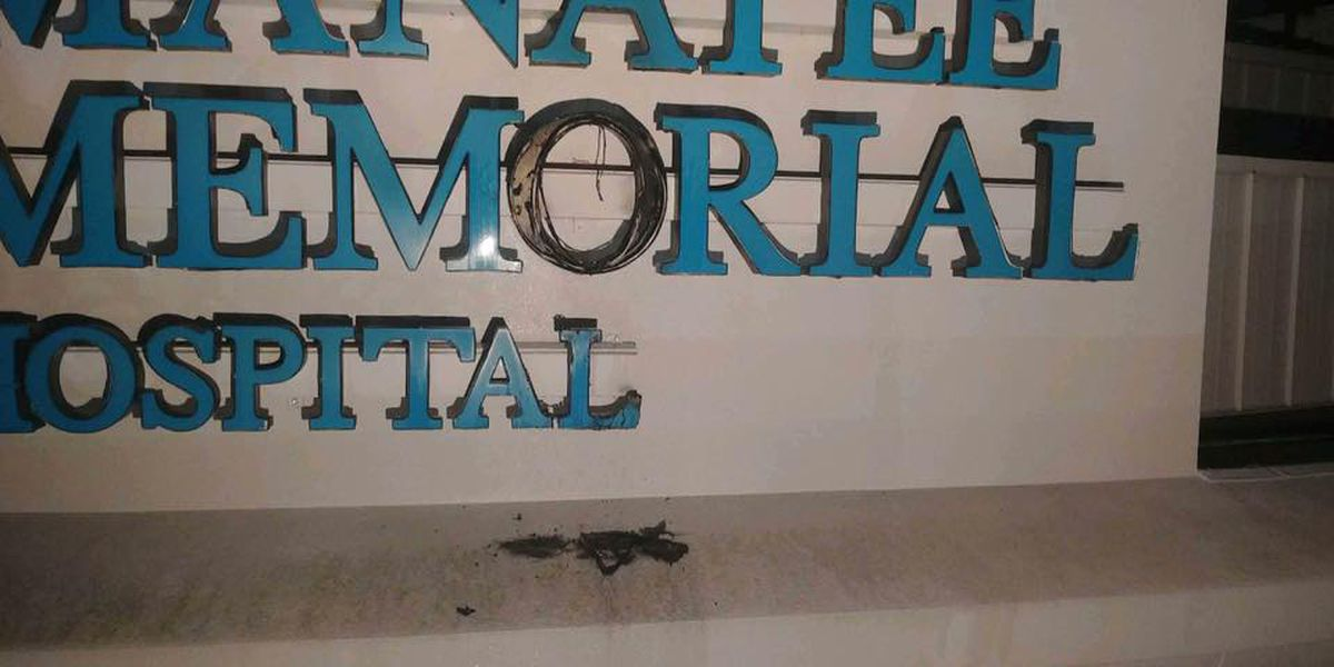 Sign catches on fire at Manatee Memorial Hospital