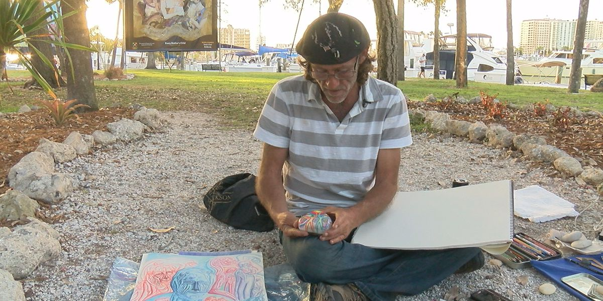 Homeless artist in Sarasota uses rocks to carry out passion