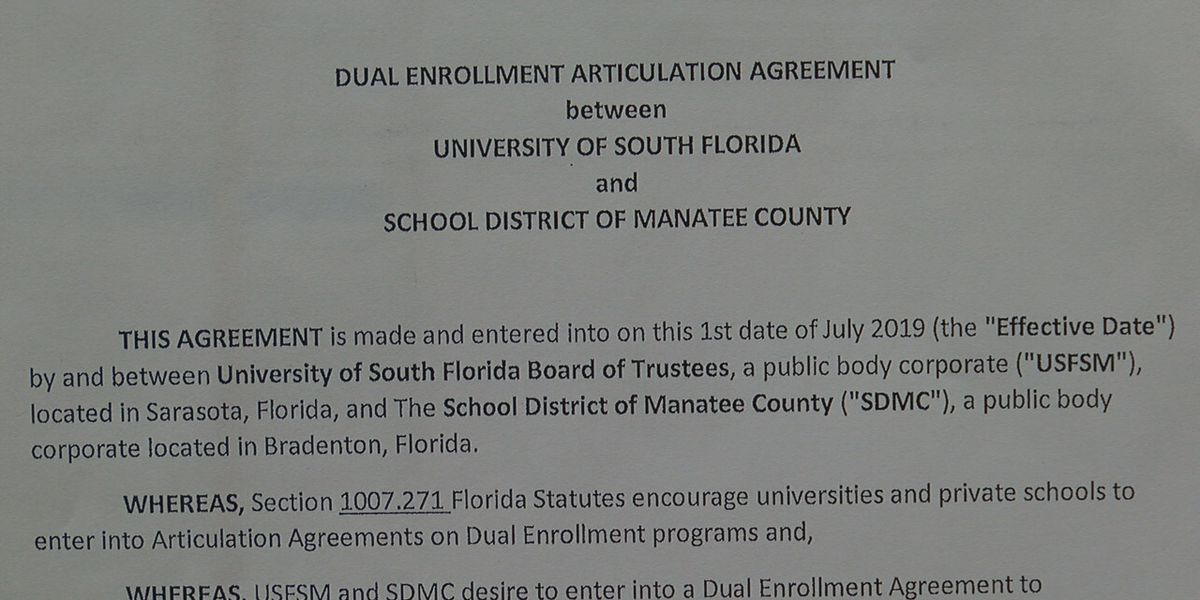 Dual enrollment agreement reached between Manatee County School District and USF