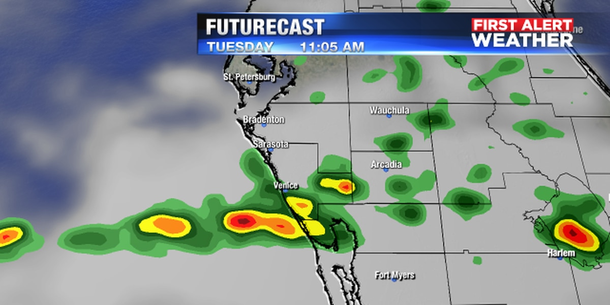 Showers and a few thunderstorms possible on Tuesday as system moves in