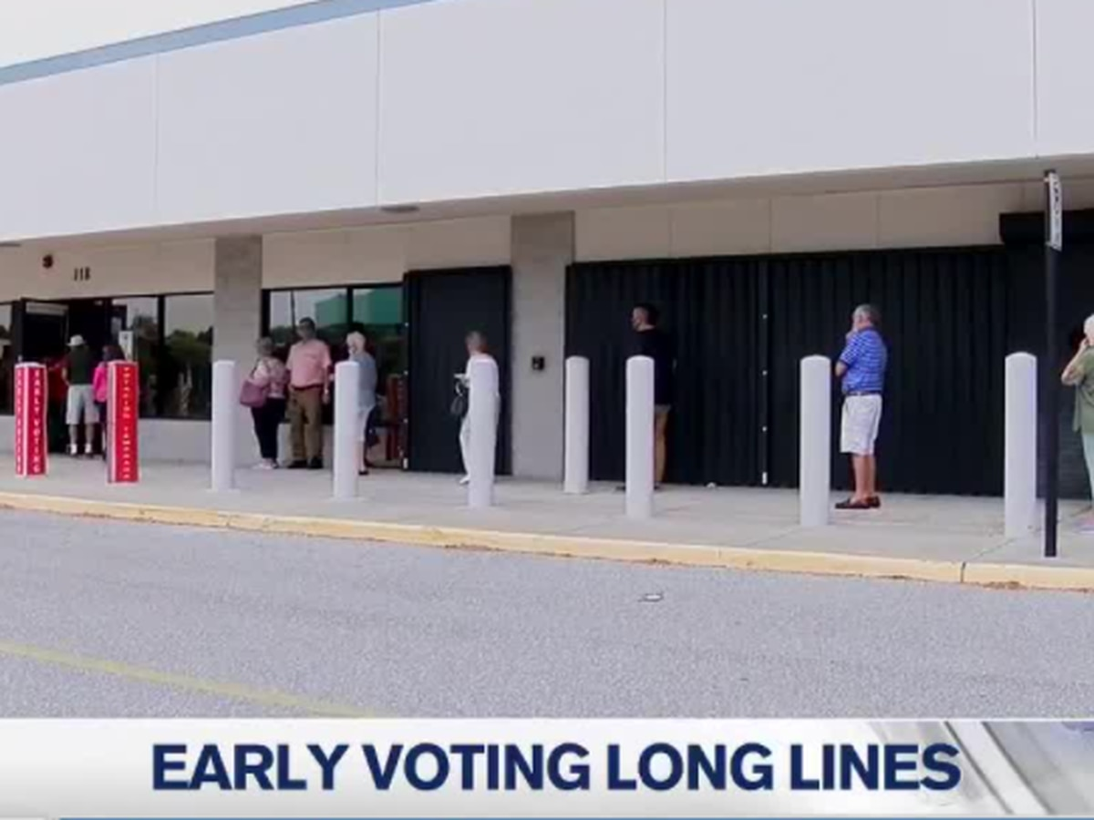 Long lines at polling locations on the second day of early voting