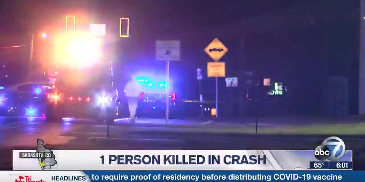 1 person killed in crash in Sarasota County