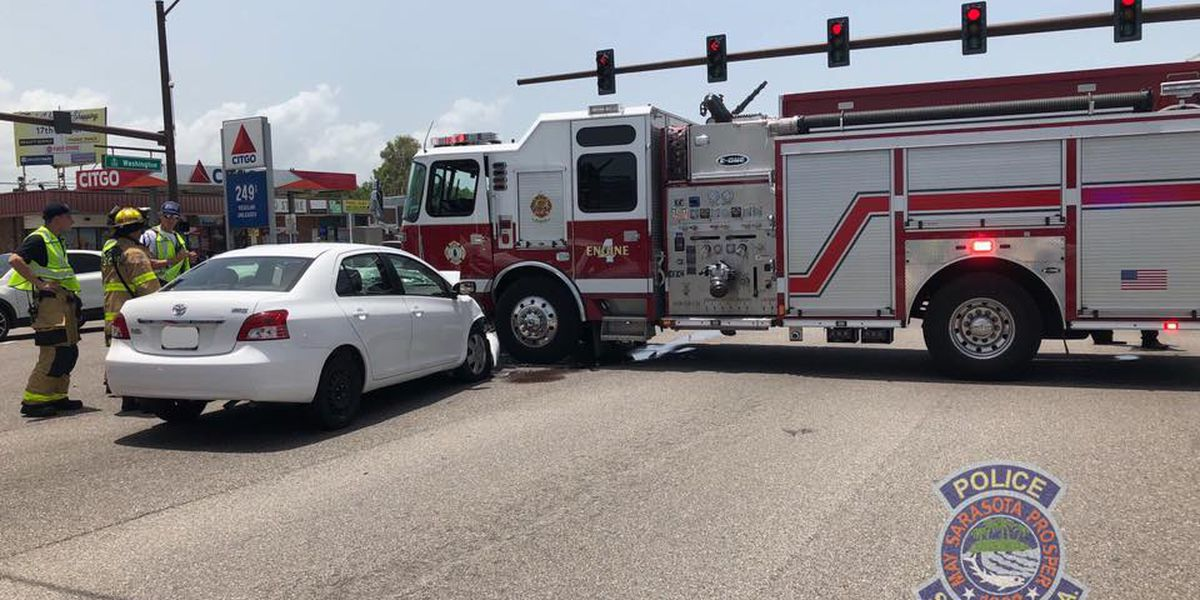 Fire truck and car collide on US301 in Sarasota
