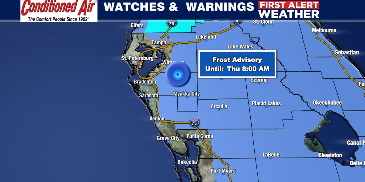 Frosty forecast for Suncoast Thursday