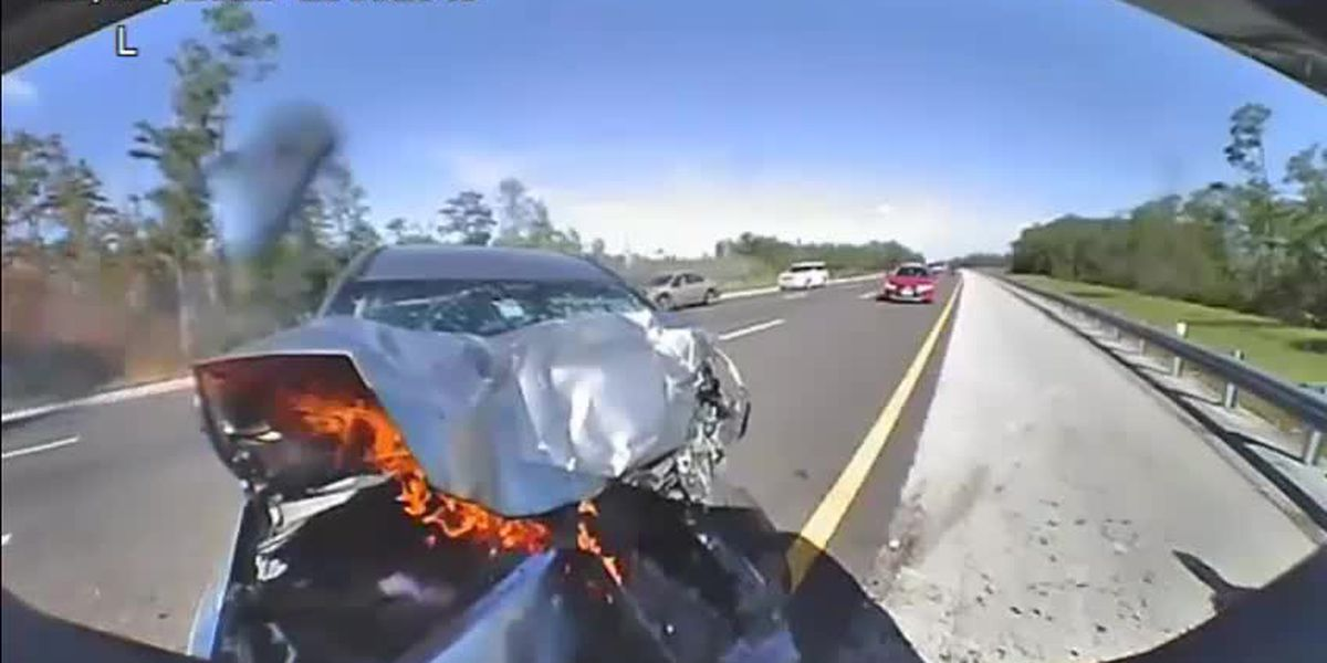 VIDEO: Crash ends up in flames after one driver hits Florida Highway Patrol vehicle on I-75