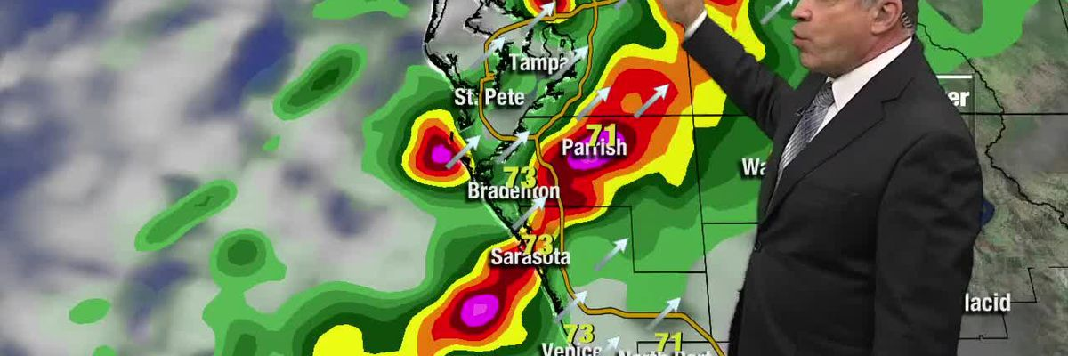 Severe weather risk as two lines of storms approach the Suncoast