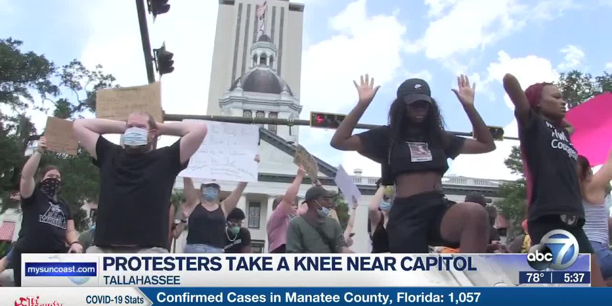 Protesters Take a Knee Near Florida Capitol