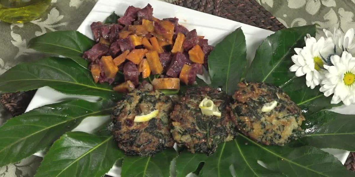 Maple Cider Glazed Sweet Potato & Quinoa Spinach Patties