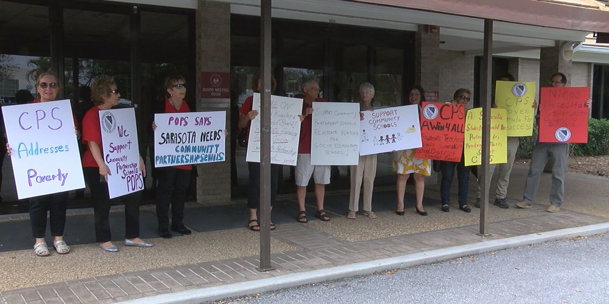 Protesters rallying for Community Partnership Schools ahead of Sarasota County School Board meeting