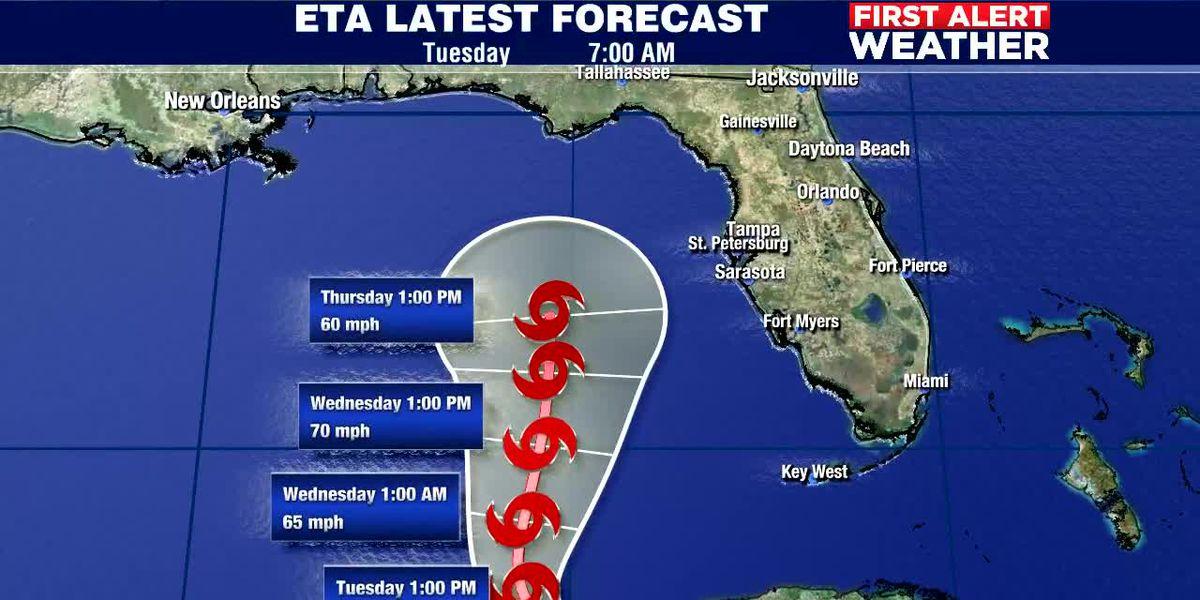 7AM Update: Eta a little stronger, still may bring heavier rain to Suncoast Thursday