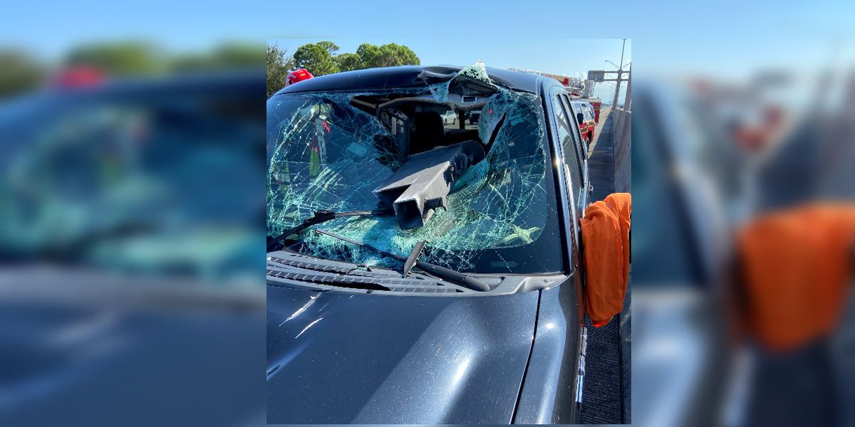 DBFR: Metal crashes through windshield of vehicle traveling on I-95