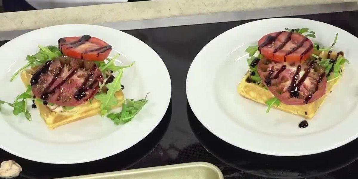 Belgium waffle BLT with roasted tomato Aioli by chef Caroline Pheasant