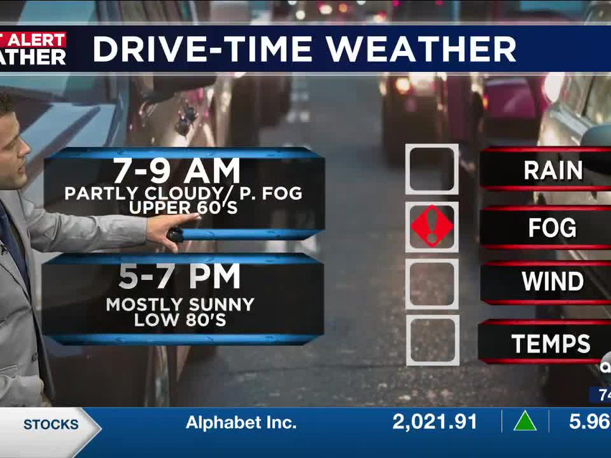 Patchy fog moves in overnight