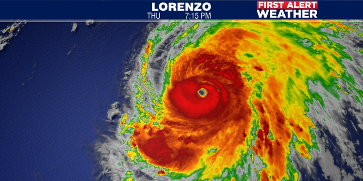 Karen to fall apart as it heads toward the Bahamas while Lorenzo goes off the chart