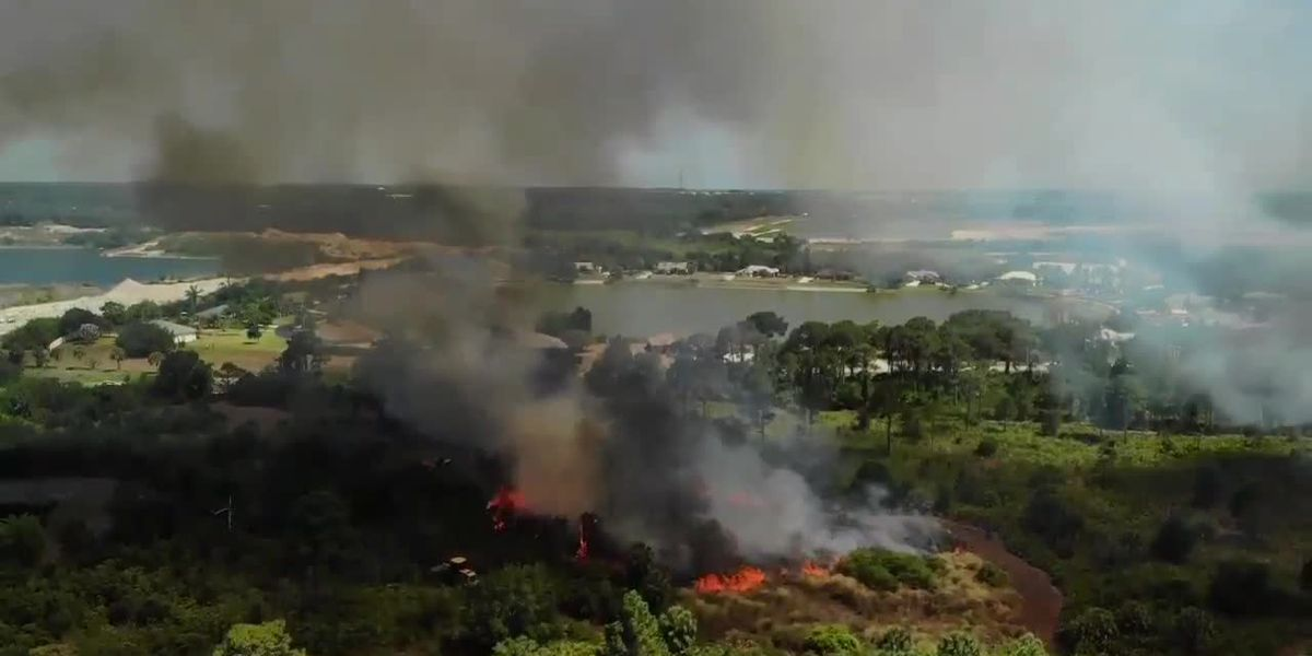 VIDEO: Drone footage of a wildfire fire damaging a park in Englewood