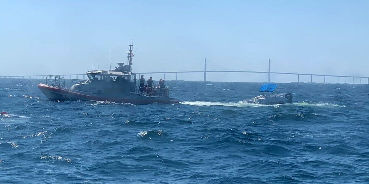 The Coast Guard rescued six people from a capsizing recreational vessel near the Skyway Bridge