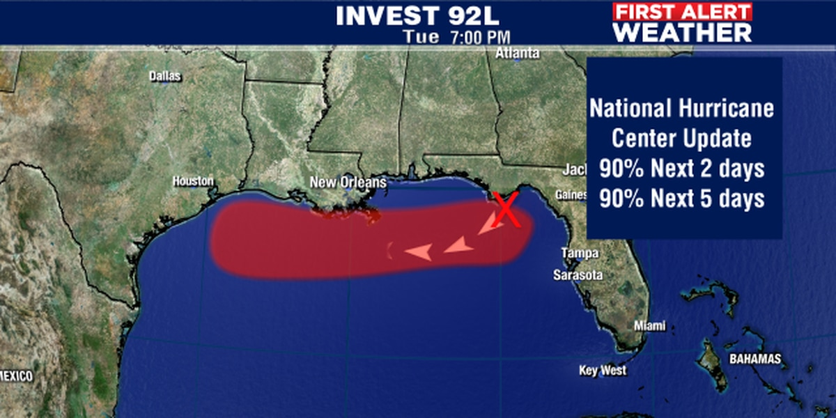 Tropical storm likely to form in the Gulf of Mexico on Weds. or Thursday.