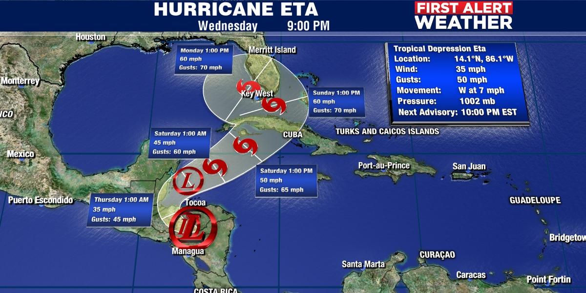 Eta looks to impact the Florida Keys and S. Florida