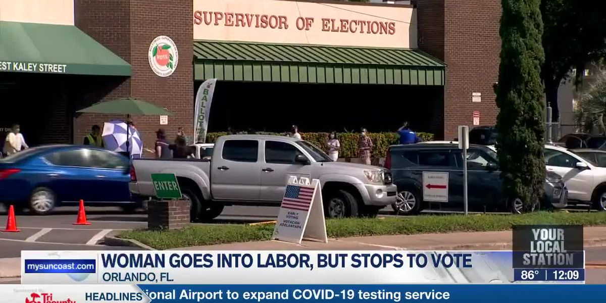 FL Woman Votes In Labor