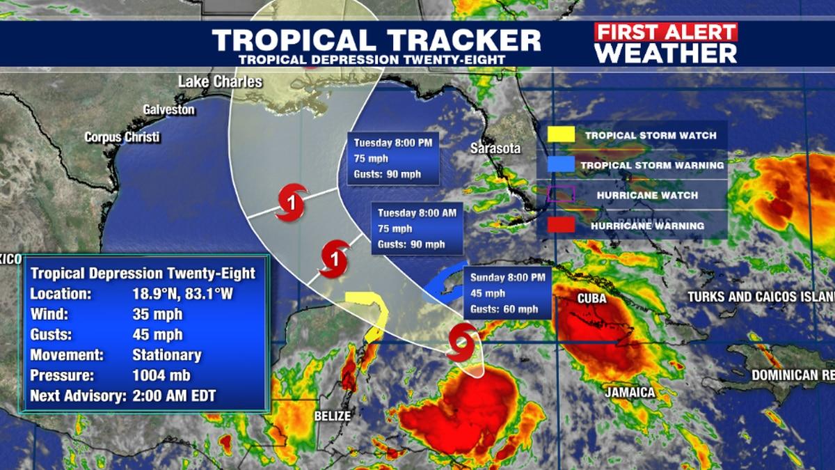 Tropical Depression Twenty-Eight expected to strengthen into Tropical Storm Zeta tomorrow