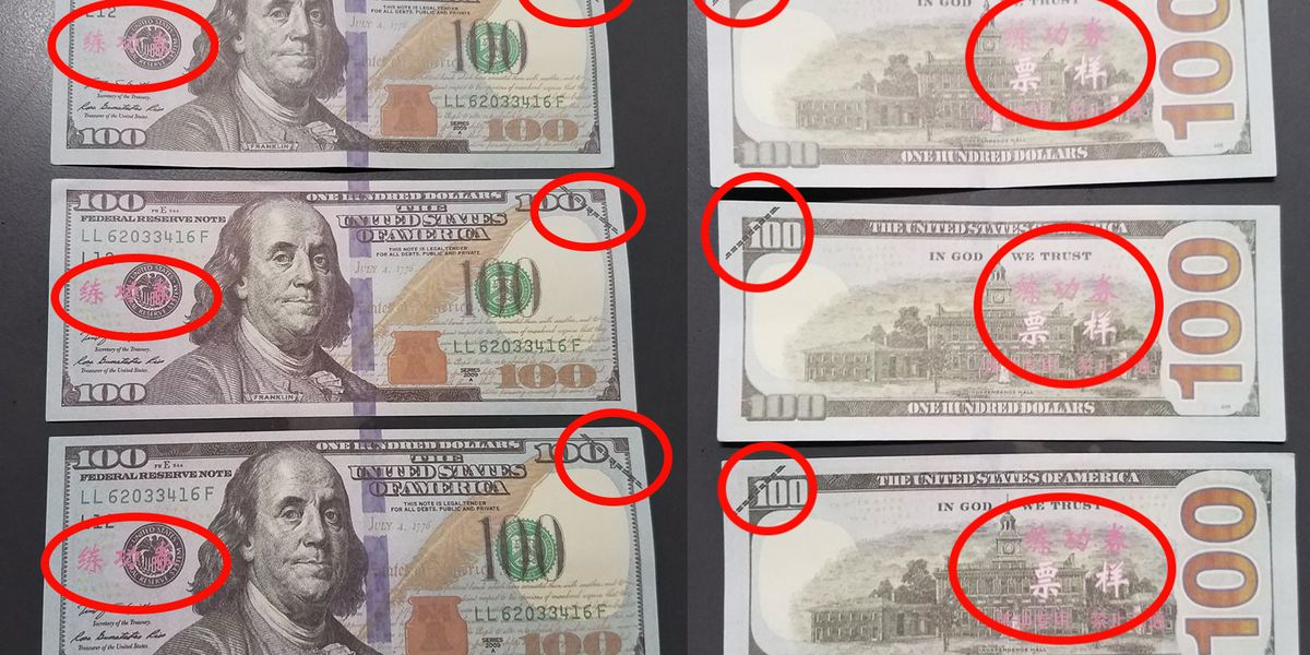 Phony $100 bills with Chinese characters on it found in Charlotte County