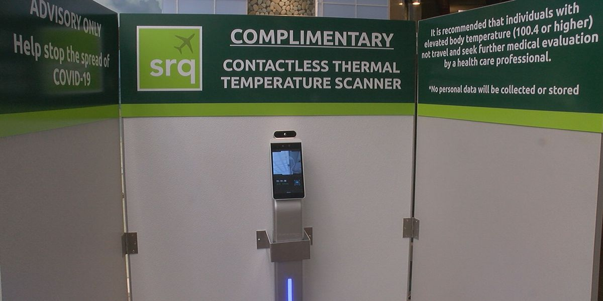 Contactless thermal temperature scanner kiosks now available at SRQ