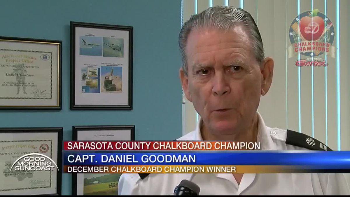 December Chalkboard Champion for Sarasota County: Capt. Goodman from Sarasota Military Academy