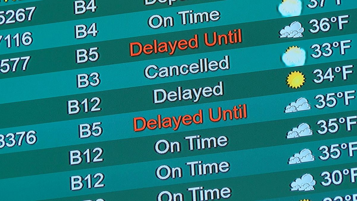 Flight cancellations at SRQ Airport due to winter storm