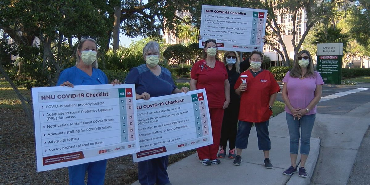 Nurses protest saying they don't have enough protective gear during coronavirus pandemic