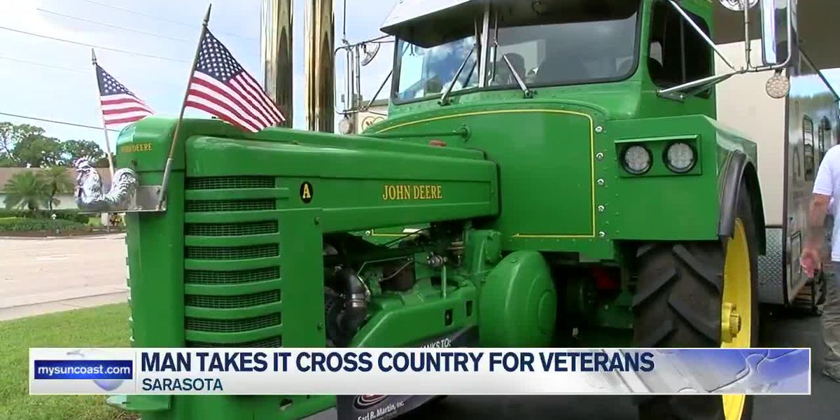 Retired farmer who takes tractor across the country for veterans visits the Suncoast
