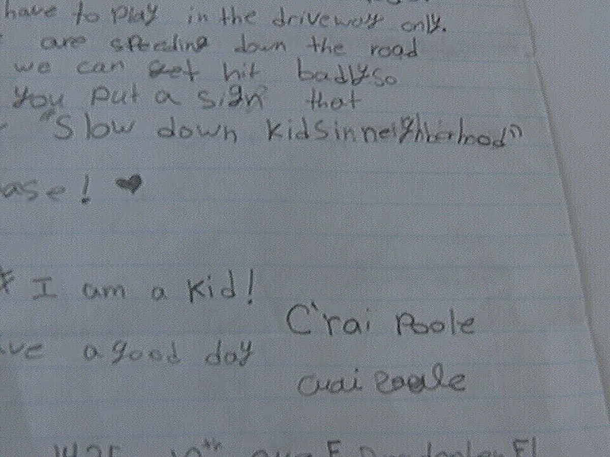 10-year-old sends touching letter to Bradenton mayor about road safety sign for her neighborhood