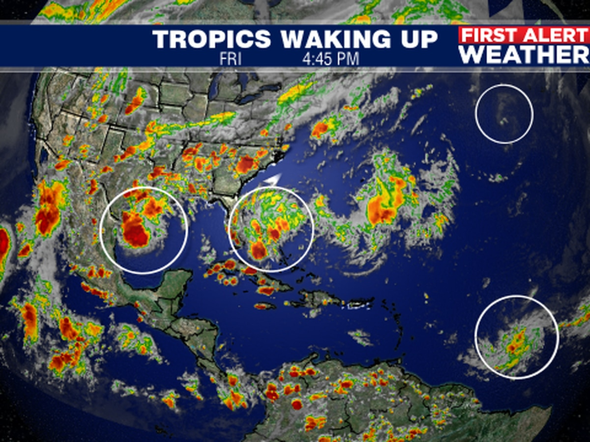 Tropical system to bring a few showers and thunderstorms over the weekend