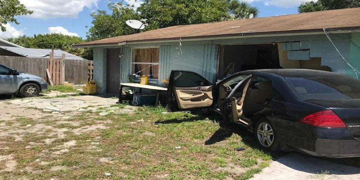 Deputies searching for man who drove stolen vehicle into a living room of a home in Bradenton
