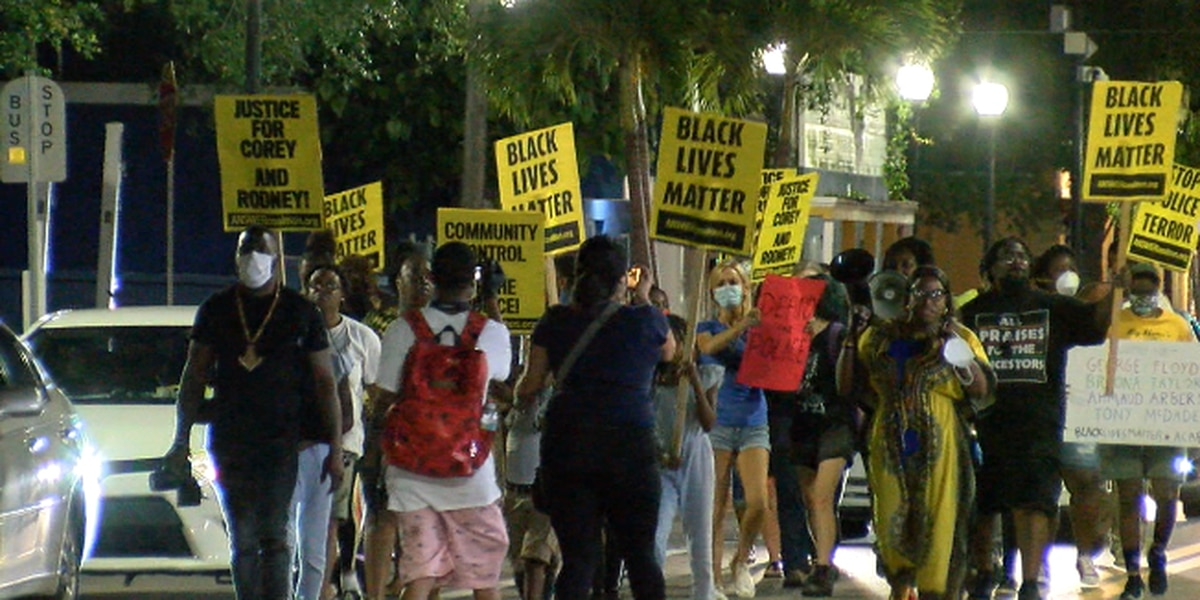Protesters seeking justice chant on the streets of Sarasota Saturday night